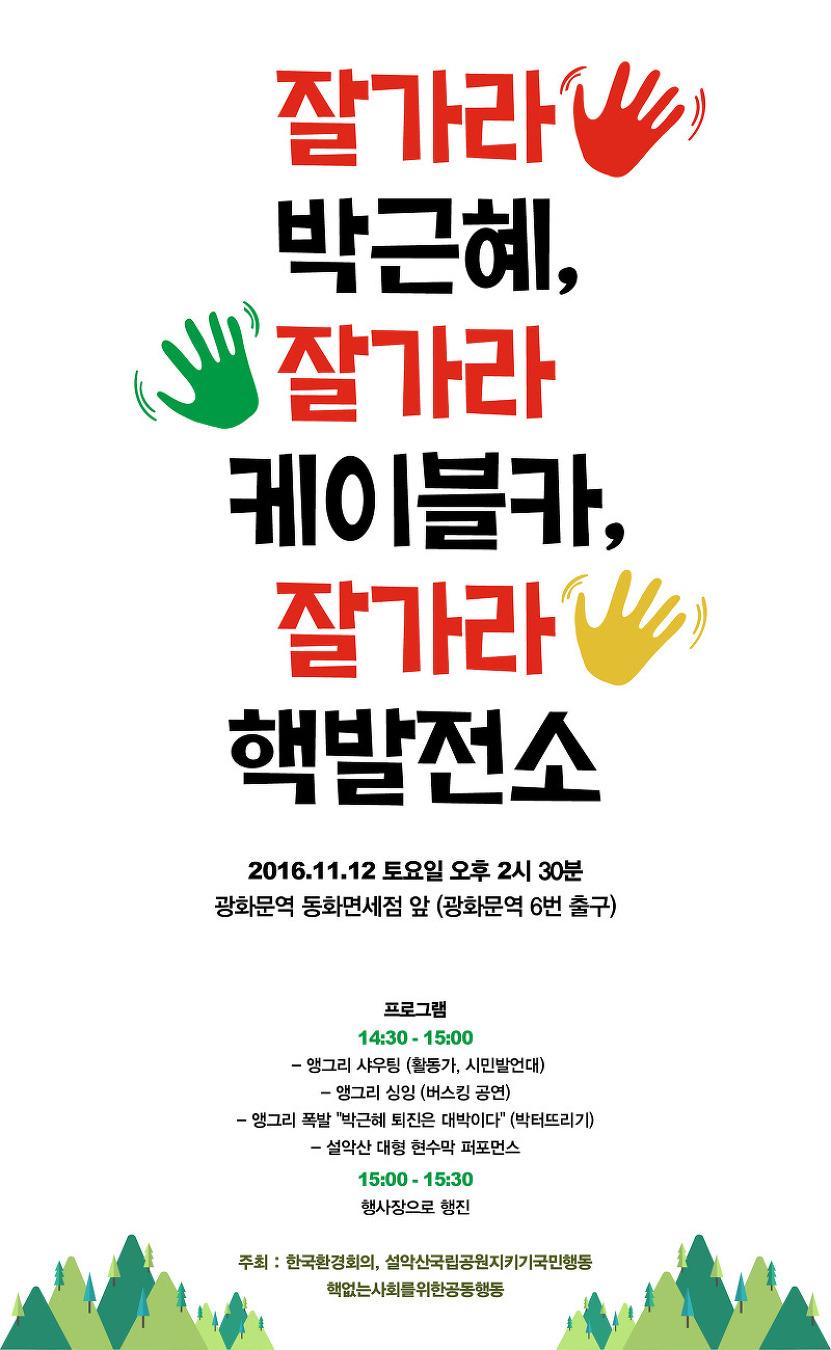 11월 12일 민중총궐기 '잘가라 박근혜, 잘가라 케이블카, 잘가라 핵발전소'