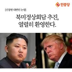[카드논평]북미정상회담 추진 열렬히 환영한다.