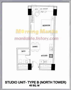 One Shangri-La Place - Studio Type B Unit Layout