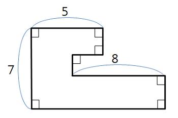 초등학교 3학년 수학 문제 직각 도형의 둘레 길이 구하라
