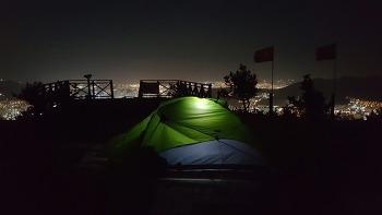 부산 백양산 비박지에서의 아름다운 야경과 일출
