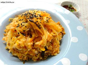 콩나물 김치밥 만들기, 남은밥 찬밥 활용 반찬필요 없는 밥