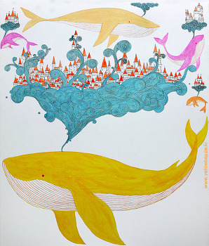 생각그림 구름 고래