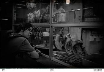 홍콩가게 / 고기요리 / 흑백사진