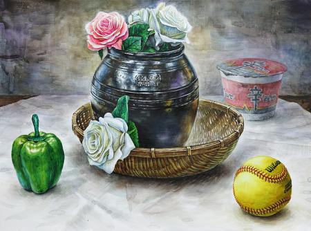 [정물수채화/과정작]항아리, 장미, 바구니, 소프트볼, 피망, 컵라면