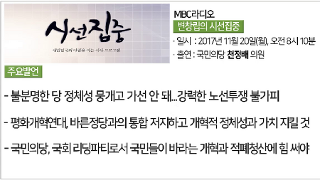 "[MBC라디오 변창립의 시선집중] 천정배, ""통합, 국민의당 소멸의 길…노선투쟁 불사할 것"""