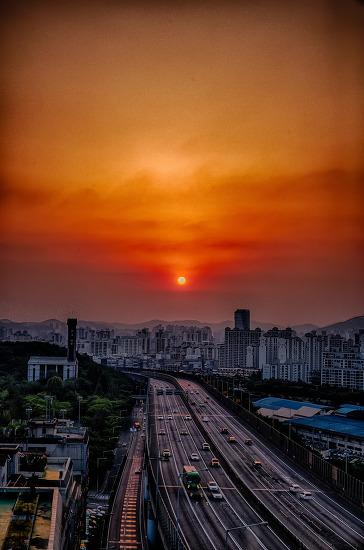 [X100T] 서울 외곽순환도로 일몰