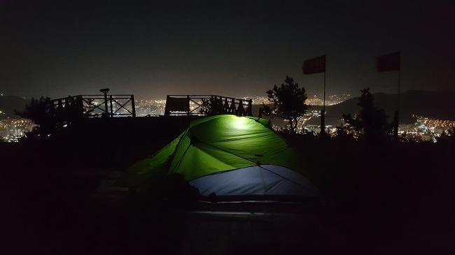 부산 백양산 비박지에서의 아름다운 야경과 일..