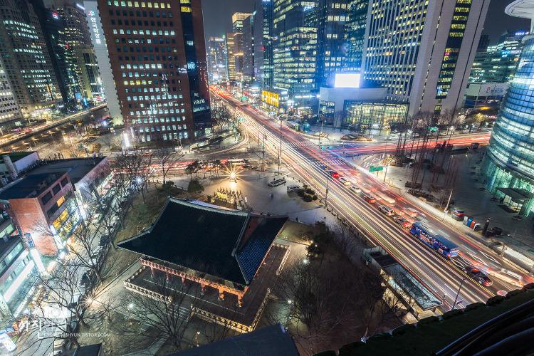 [나이트뷰 - 서울야경, 종각야경, 종로야경, 보신각야경] 우연히 종로1가 사거리와 보신각이 보이는 포인트에 올라 궤적사진을 촬영해봤어요~!