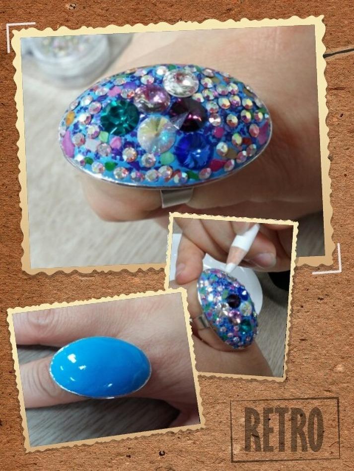 [큐빅공예] 푸른빛이 아름다운 볼륨 큐빅 반지