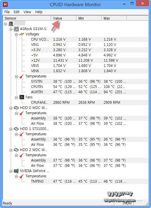 컴퓨터 하드웨어 온도 모니터,cpuid Hardware monitor 프로그램, cpu온도, fan회전수, HDD 온도, 비디오카드 온도