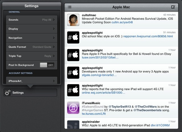 아이패드 트위터 앱 트윗봇 Tweetbot — A Twitter Client with Personality for iPad