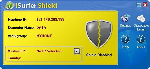 다시 실행한 iSurfer Shield. 오른쪽 아래의 아이콘 두 개가 사라져 있습니다.