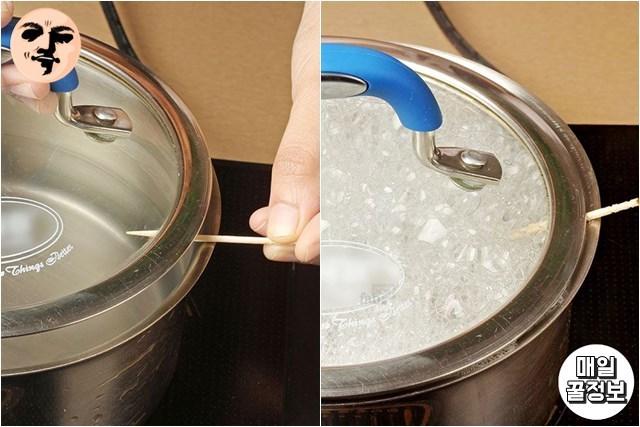 끓어넘치치않는냄비 이쑤시개활용법