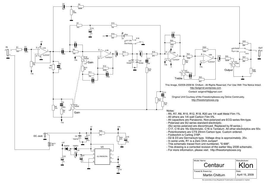 Klon Centaur Schematic by Martin Chittum April.15. 2009 on divided by 13 amp schematic, marshall bluesbreaker schematic, wah pedal schematic, ibanez ts9 schematic, ocd schematic, orange squeezer schematic, lovepedal amp schematic, simple distortion pedal schematic, rangemaster schematic, box mod schematic, fuzz face schematic, cry baby wah schematic, tube distortion pedal schematic, winchester super x 1 schematic, boost pedal schematic, lovepedal eternity burst schematic, proco rat schematic, hermida zendrive schematic, overdrive schematic, mxr phase 100 schematic,