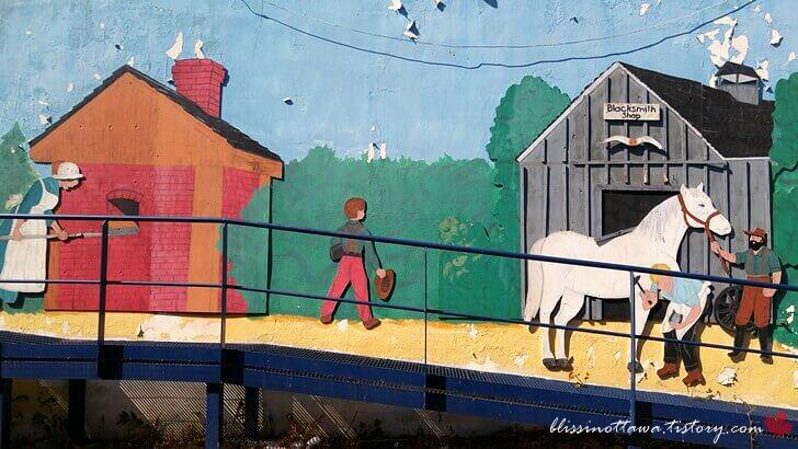 19세기 마을 모습을 그린 벽화입니다