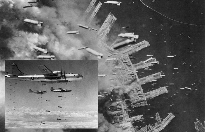 사진: 제2차세계대전에서 폭탄이 떨어지는 장면. 실제로 추사 김정희의 세한도그림을 보관했었던 일본 교수의 집은 화재로 불탔었다. [세한도그림과 손재형의 사연]