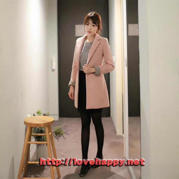 여성패션 코트 카라 뒷면과 소매배색이 돋보이는 002