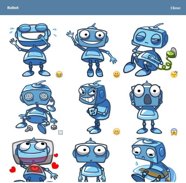 텔레그램 스티커 - Blue Robots