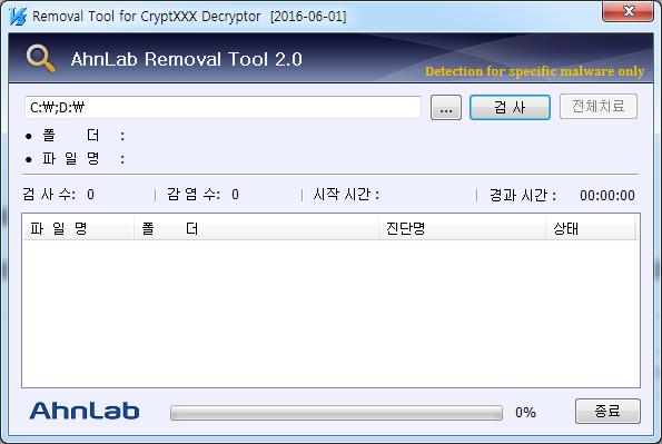 CryptXXX 랜섬웨어 복구툴 v2버전