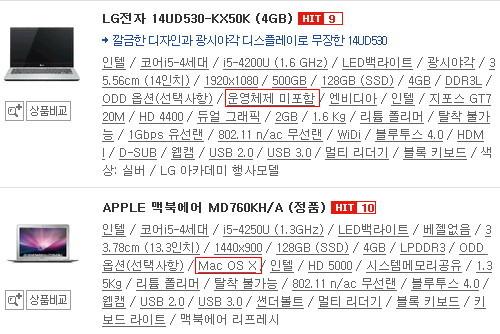 다나와 13인치 ~ 14인치 인기순위 9위, 10위 노트북