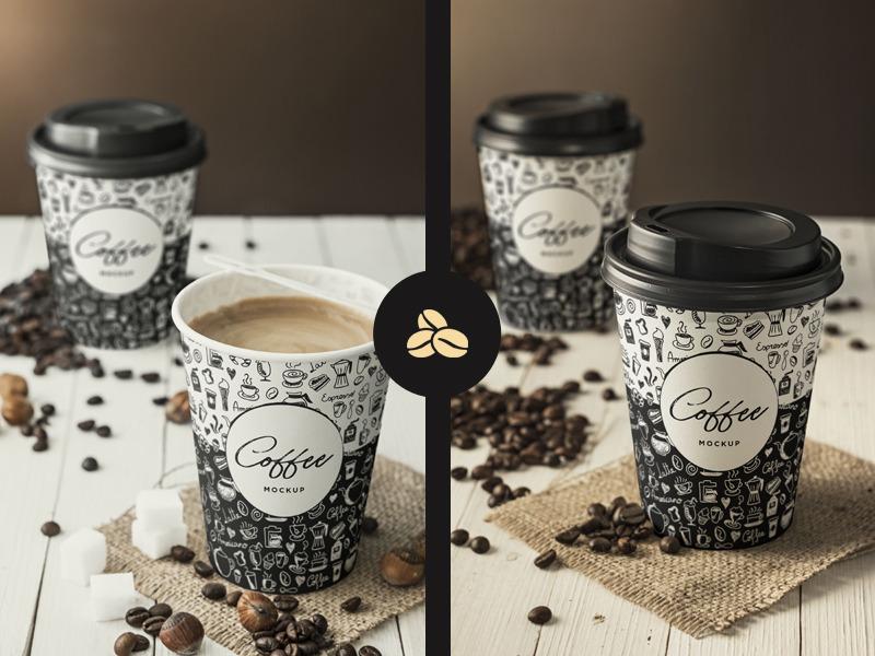 2 가지 무료 브랜딩 커피컵 목업 PSD - 2 Free PSD Coffee Cup Branding Mockups