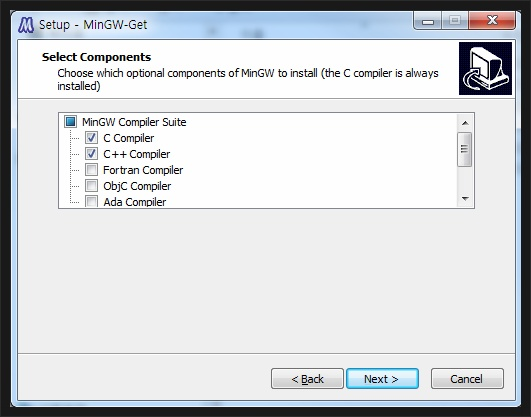 Setup MinGW - Select Components