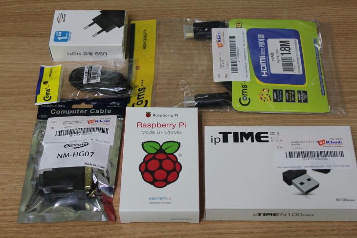 라즈베리파이 B+, Raspberry Pi B+, 라즈베리파이 구입 방법, 라즈베리파이 개봉기, 라즈베리파이 부품, 라즈베리파이 관련 제품, 라즈베리파이 카메라 모듈, Micro USB 케이블, 충전 아답터, 라즈베리파이 GPIO 확장보드, 라즈베리파이용 2.8 TFT 쉴드, HDMI 케이블, ipTime USB 무선랜카드, 라즈베리파이 B+ 512MB, 소형컴퓨터, iCbanQ, IC뱅큐