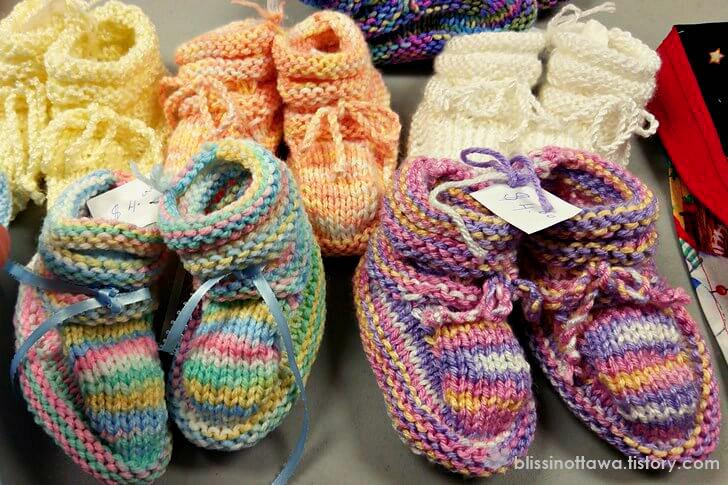 신생아 뜨개질 신발