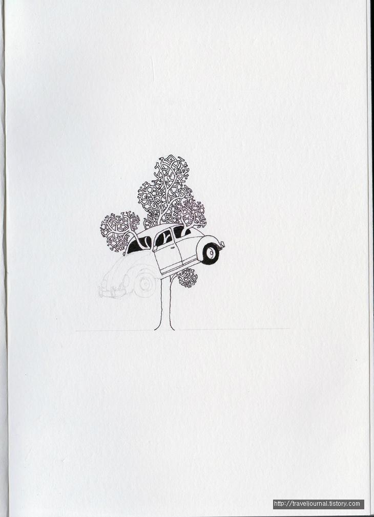 dimo beetle tree 만년필 펜화 과정3