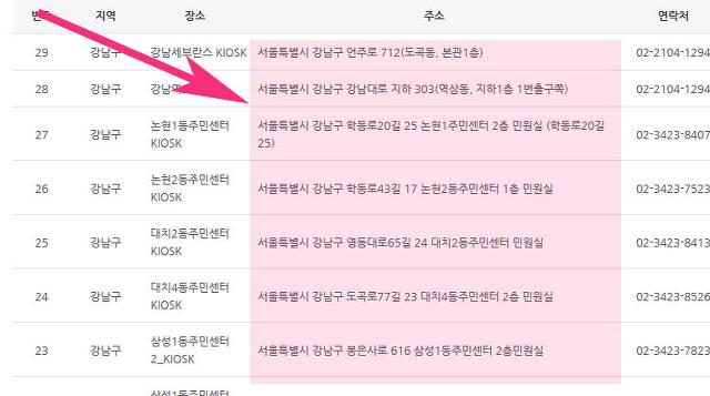 서울시 증명서,등본 무인민원발급기 시간 및 위치 찾기