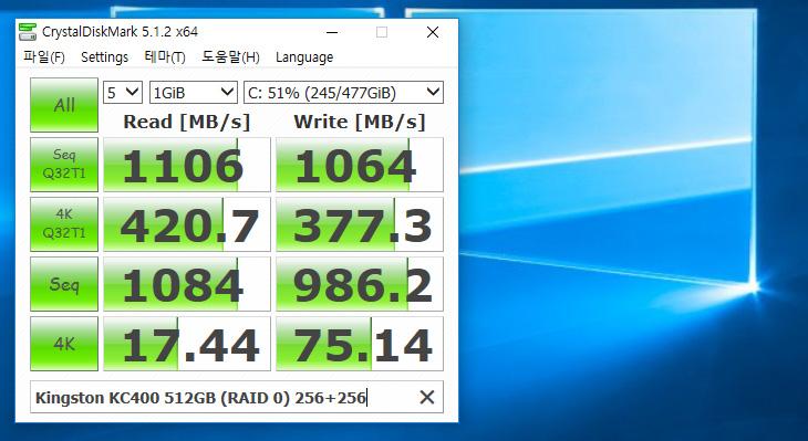 SSD RAID 0 ,Kingston KC400 ,성능 ,테스트,IT,IT 제품리뷰,RAID0,레이드0,킹스톤,저장장치를 두개 이상을 묶어서 하나의 저장장치가 갖는 부족한 점을 보완할 수 있습니다. 그리고 성능도 올릴 수 있죠. SSD RAID 0 Kingston KC400 성능 테스트를 해보려고 합니다. 256GB 두개를 묶어서 사용해볼 것인데요. RAID 0의 경우 하나의 저장장치가 문제가 생길 경우 데이터를 모두 사용하지 못하는 문제로 안정성이 떨어지는것은 사실 입니다. SSD RAID 0 으로 Kingston KC400 256GB 2개를 묶으면서 실사용을 하면서 안정성은 어떤지 그리고 체감 성능은 어떤지 장점은 무엇인지 확인을 해보려고 합니다.