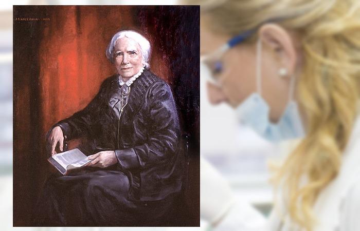 사진: 엘리자베스 블랙웰의 초상화. 양성불평등의 유리벽을 이겨내고 첫 여성 의사가 되었다. 의과대학에 입학하기 위해 재학생들의 찬반 투표를 받은 일화가 유명하다. [최초의 여의사와 의대 투표]