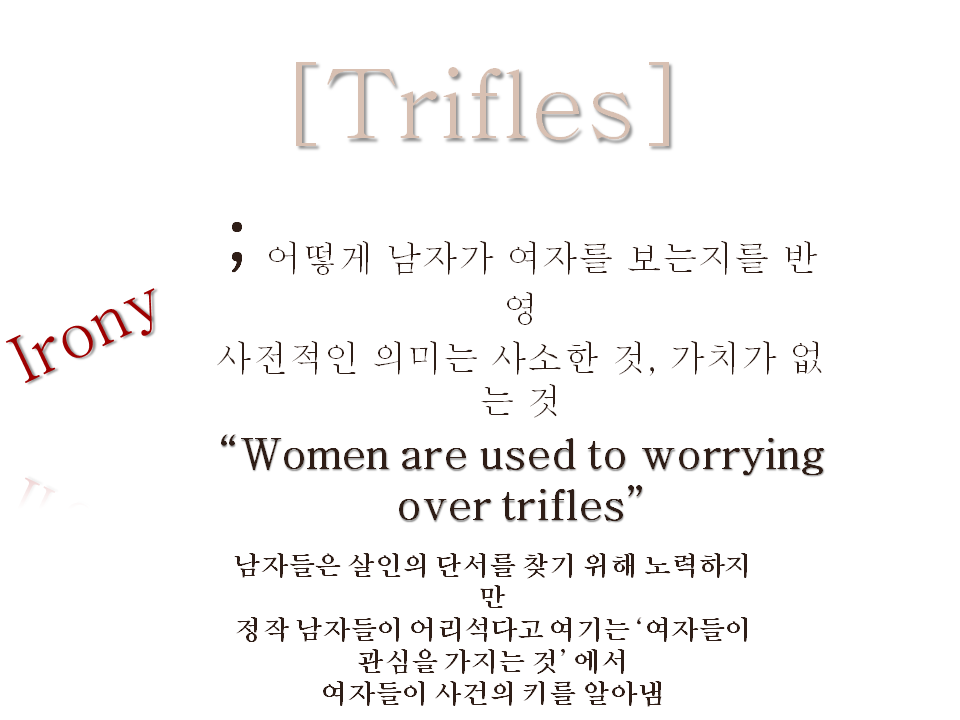 "mens superiority over women in the play trifles by susan glaspell Susan glaspell's one-act play, trifles who berate the women for spending time ""worrying over more about essay on susan glaspell's trifles men vs women."