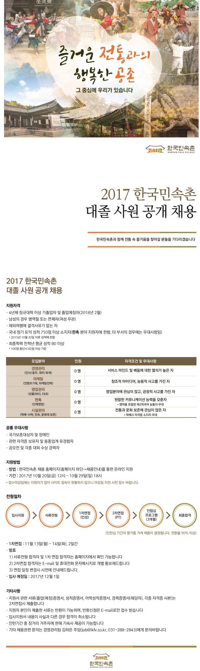 2017 한국민속촌 대졸사원 공개채용(~10.29)