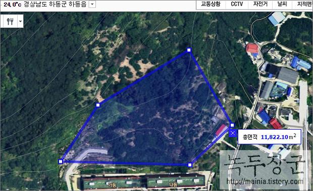 네이버 지도 실제 토지 면적 구하는 방법