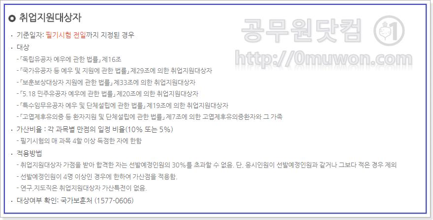 서울시 공무원 취업지원대상자 가산특전
