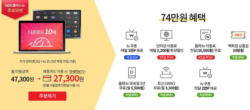 새로운 KT 기가인터넷, 올레TV 결합 할인 혜택