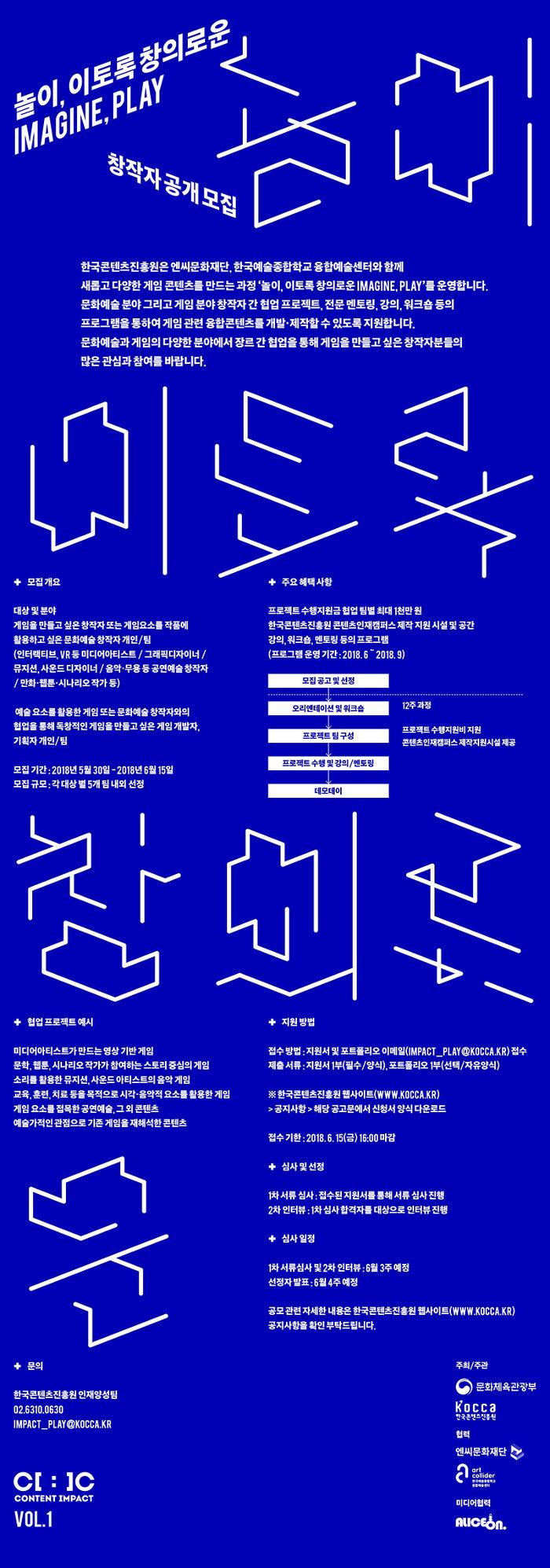 2018년 콘텐츠 장르별 문화기술 전문 인력양성 창의랩 (게임X예술) '놀이, 이토록 창의로운 Imagine, Play'창작자 공개 모집