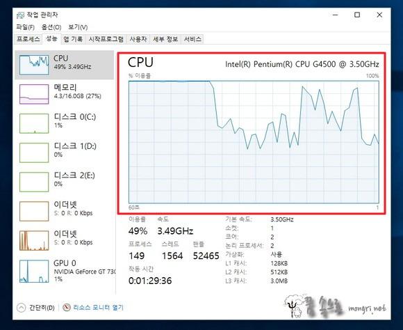 윈도우10 CPU 사용량 100%